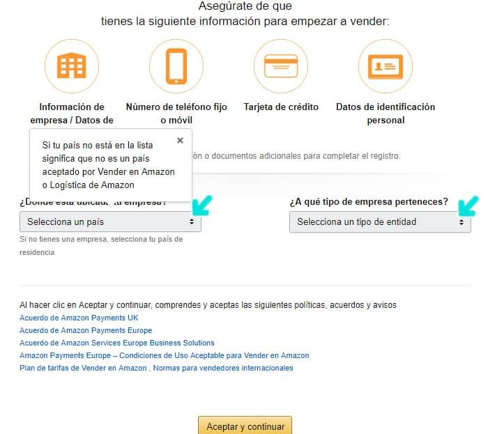 Como crear una cuenta para vender en amazon formulario en español