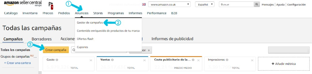 Cómo crear un Anuncio en Amazon Advertising