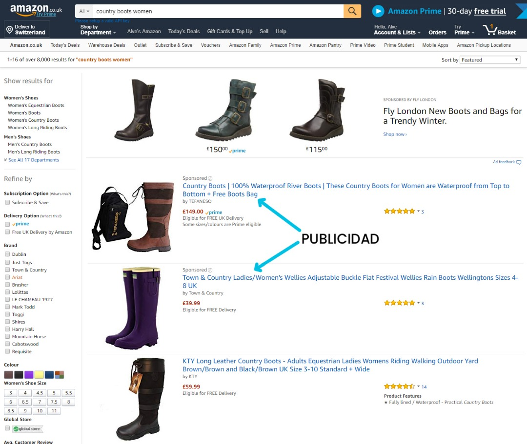 Ejemplo de Resultados en la Primera Página de Búsqueda de Amazon