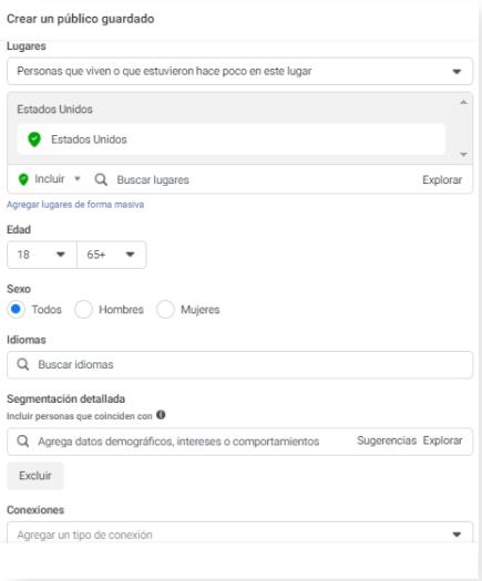 Crear un Público Guardado - Publicidad en Facebook